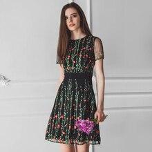 Sukienka z Krótkim Rękawem Kwiaty S-L