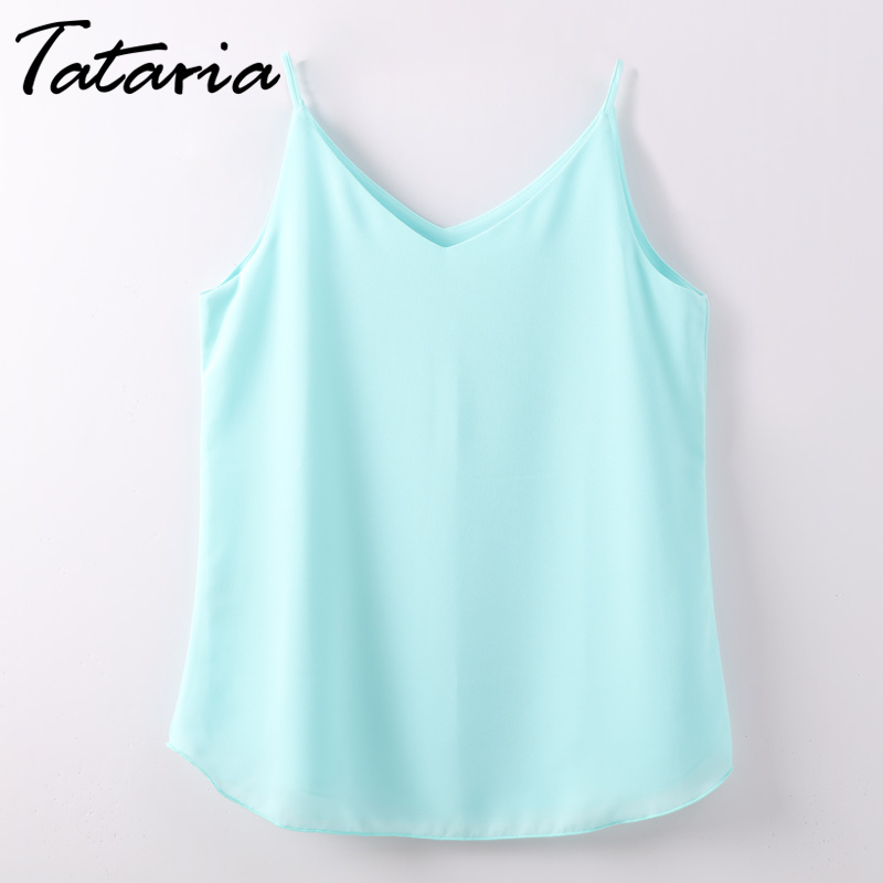 Women Halter Top Chiffon Tanks Camis Tops Sleeveless Vest V Neck Blouse Summer Debardeur Femme Tank Tops Clothes Ladies Tataria