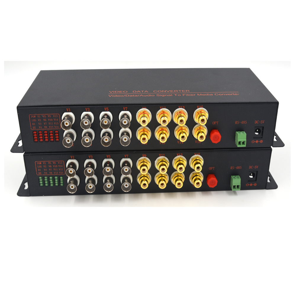 High Quality 8 Channels Video/Audio/RS485 Data Fiber Optical Media Converter Transmitter and Receiver, 1310/1550 S/M 20Km