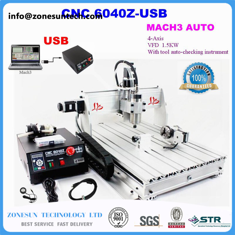 ZONESUN IncludeTax To Russia! CNC Router 6040Z-USB 4 axis Mach3 Auto engraving machine USB interface with 1.5KW VFD spindle freeshipping 0 to 10 vpwm spindle speed controller mach3 interface board