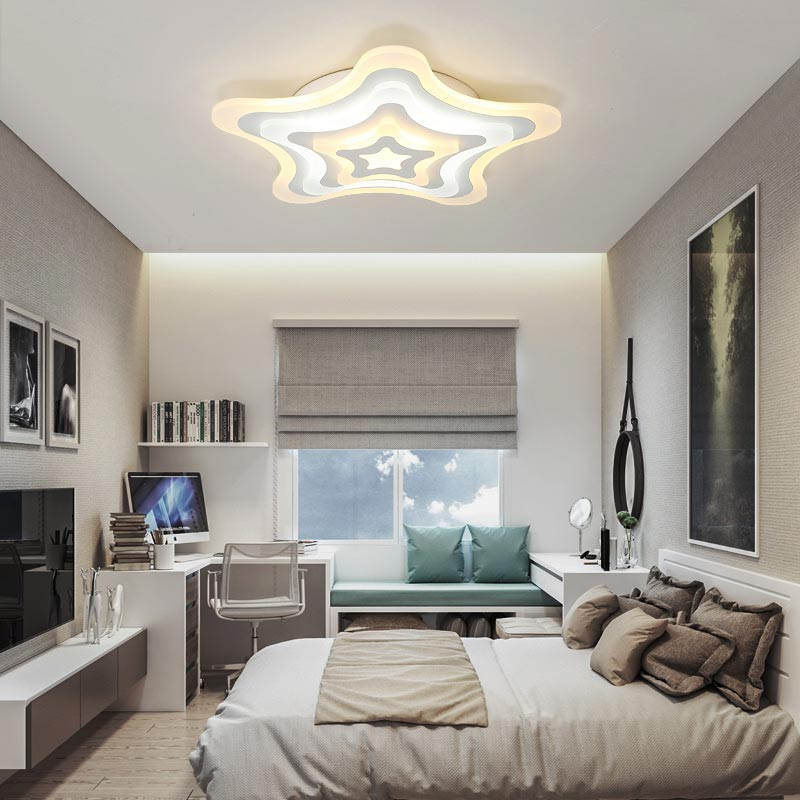 Star Acrylic Lamp Fixtures Modern Led Ceiling Light With Remote Control Living Room Bedroom Decor Home Lighting lustre 220V bdbqbl modern art led table lamp lustre for living room bedroom light ghost desk lamp acrylic lampshade home lighting abajour