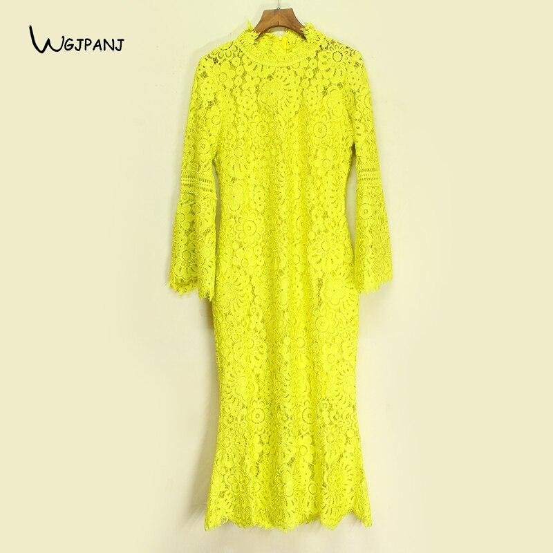 2018 Spring Yellow Lace Dress High Quality Empire Flare Sleeve Hollow Out Vintage Design Plus Size XXL XXXL Midi Women Dresses