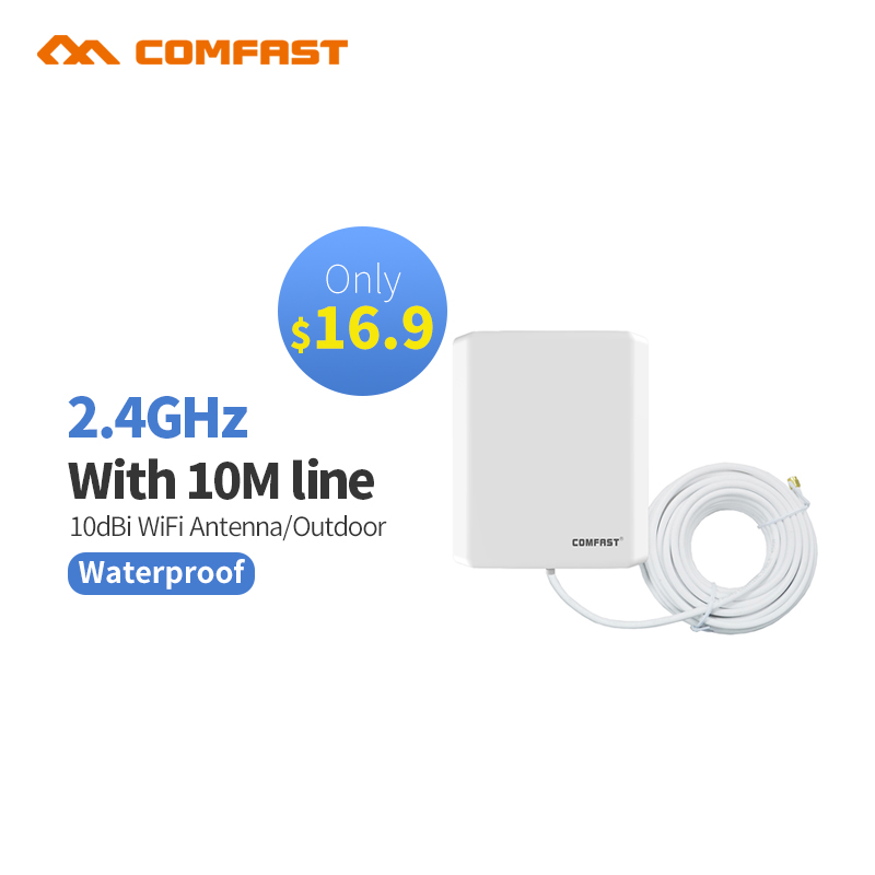 Outdoor Long Distance 10dbi WiFi Antenna cable with 10m line for Wireless Wi fi Adapter Booster Extender Wi-Fi Router