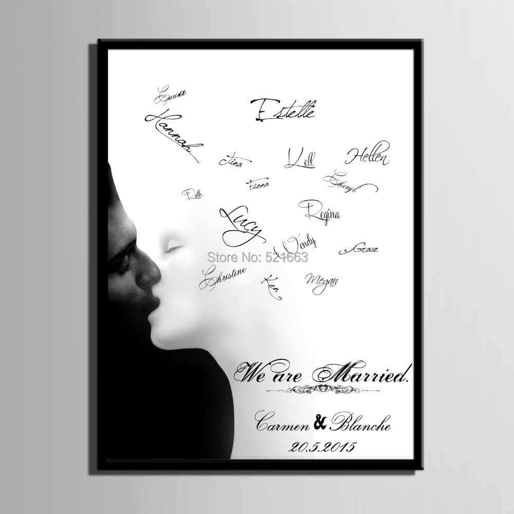 guest signature party gift wedding canvas signing board canvas painting kissincludes frame