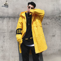 2017 Autumn New Wave Of Hip-hop Models With A Couple Youth Fashion Style Small Fresh Long Hooded Loose Solid Color Coat