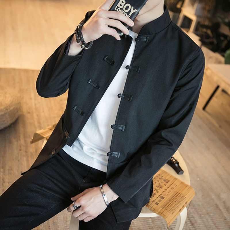Традиционная китайская одежда для мужчин китайские куртки Дракон вышитые мужские куртки-бомберы kungfu одежда наряд TA199