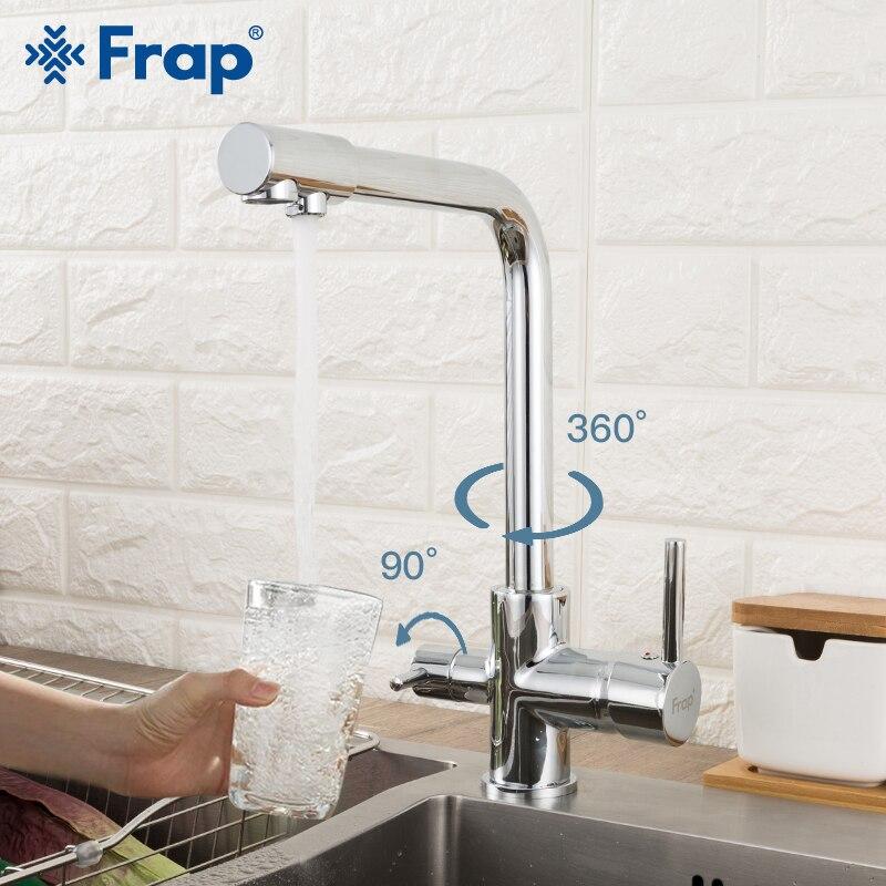 Frap chrome Kitchen sink Kraan 360 Graden Rotatie met Waterzuivering Kenmerken drie manieren warm en koud water mixer F4352|Keukenkranen|   - AliExpress