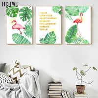 Arte Complementi Arredo Casa della Tela di Canapa Pittura Immagine Della Parete Nordic StyleTropical piante Flamingo Stampa Poster per Soggiorno HD001