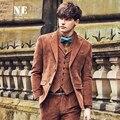 ЭРЛ бренд мужская одежда 2016 Осень Зима Fanshion мужчины вельветовые пиджаки однобортный повседневная пальто куртка slim fit мужская пиджаки