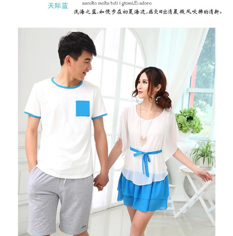 2015 korean couple shirts and dress for beach for lovers ...