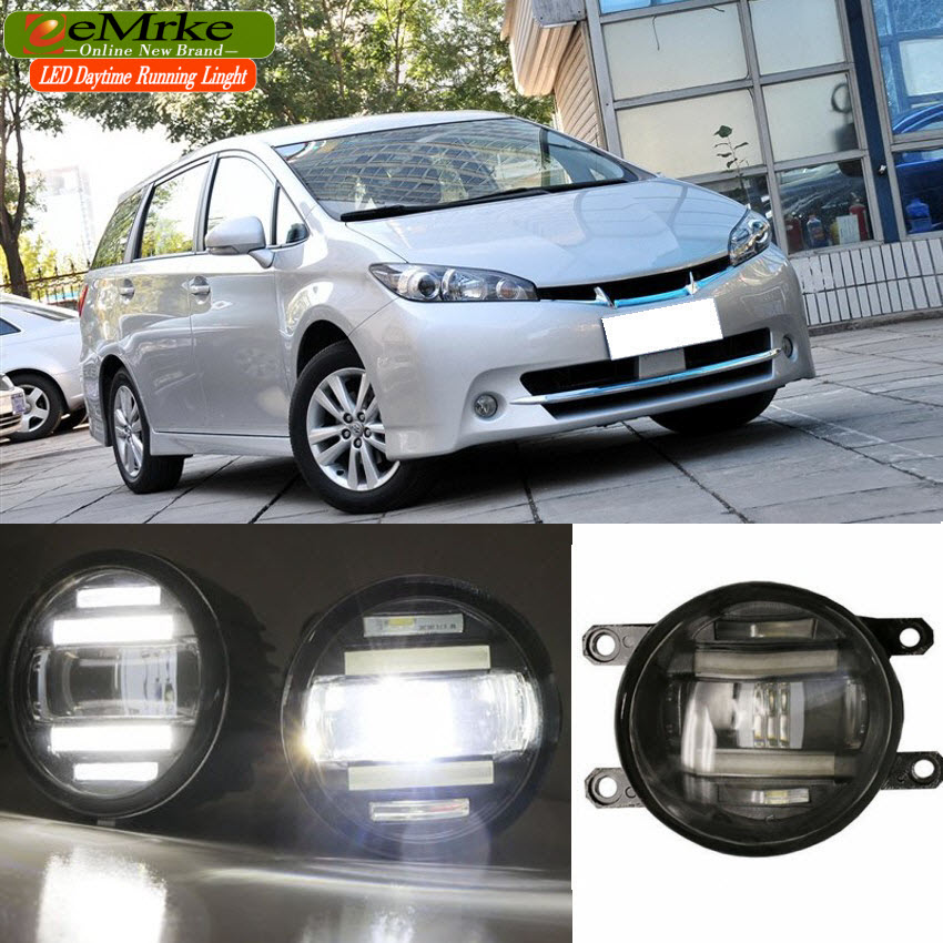 eeMrke Xenon White High Power 2in1 LED DRL Projector Fog Lamp With Lens For Toyota Wish 2007-up eemrke xenon white high power 2 in 1 led drl projector fog lamp with lens daytime running lights for renault kangoo 2 2008 2015