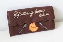 Princess sweet lolita bag Japanese Vintage chocolate Purse Wallet Purse swimmer long embroidered Lolita cookies Wallet b003