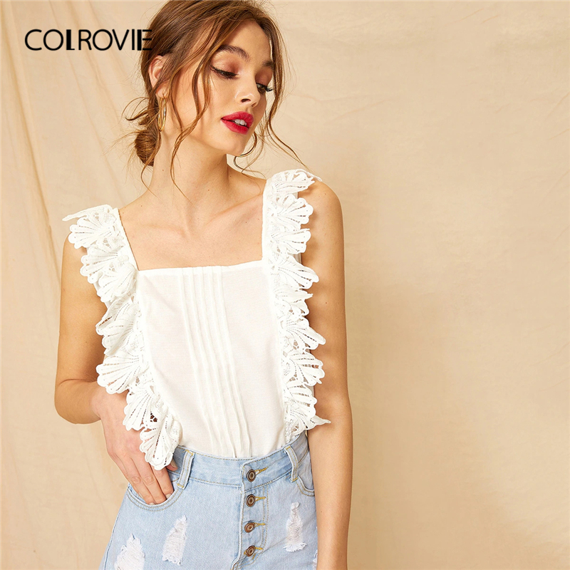COLROVIE White Square Neck Lace Panel Pleated Korean Boho Top Women Blouse Shirt 2019 Summer Sleeveless Office Shirts Blouses