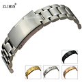ZLIMSN 18 20 22 24 26mm SOLID Watchbands SS Silver Black Rose Gold Watch Band Bracelets Watchband Stainless Steel Buckle relogio