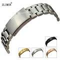 Zlimsn pulseiras ss 18 20 22 24 26mm sólida prata Black Rose Gold Watch Band Pulseiras Pulseira de Aço Inoxidável Fivela relogio