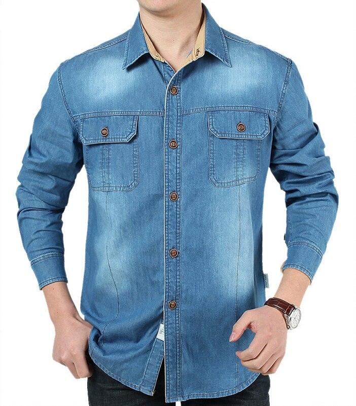Loldeal New Fashion Brand Denim men shirt long sleeve Patchwork Soft Cotton Retro Blue Jeans Shirt Men camisas para hombre Plus