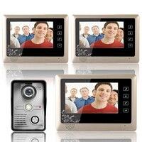 Mountainone 7 дюймов видео телефон двери Дверные звонки домофон Системы комплект 1 Камера 3 Мониторы Ночное видение 3 шт. 10 м кабель