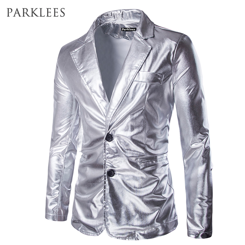 Silver Mens Slim Fit Shiny Metallic Two Button Suit Jacket Brand Hip Hop Night Club Blazer Casual Slim Fit Costumes Suit Jackets