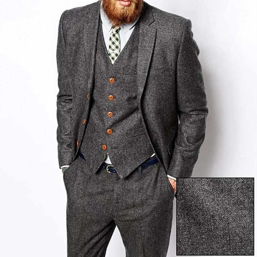 Серый твидовый мужской костюм в елочку винтажный осенне зимний смокинг для