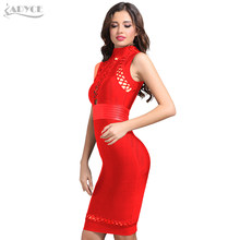 ADYCE 2019 New Summer Runway Red Bandage Dress Women Bodycon Hollow Out Sleeveless Club Dress Midi Celebrity Eevning Party Dress(China)