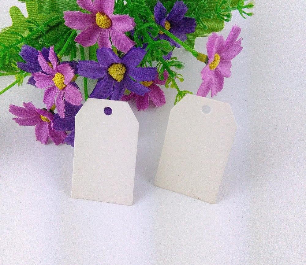 5*3 cm 400PCS White Paper Hang Tags+400PCS Hemp Strings Jewelry Head Cards Luggage Labels Mark DIY Handmade Accept Custom Logo