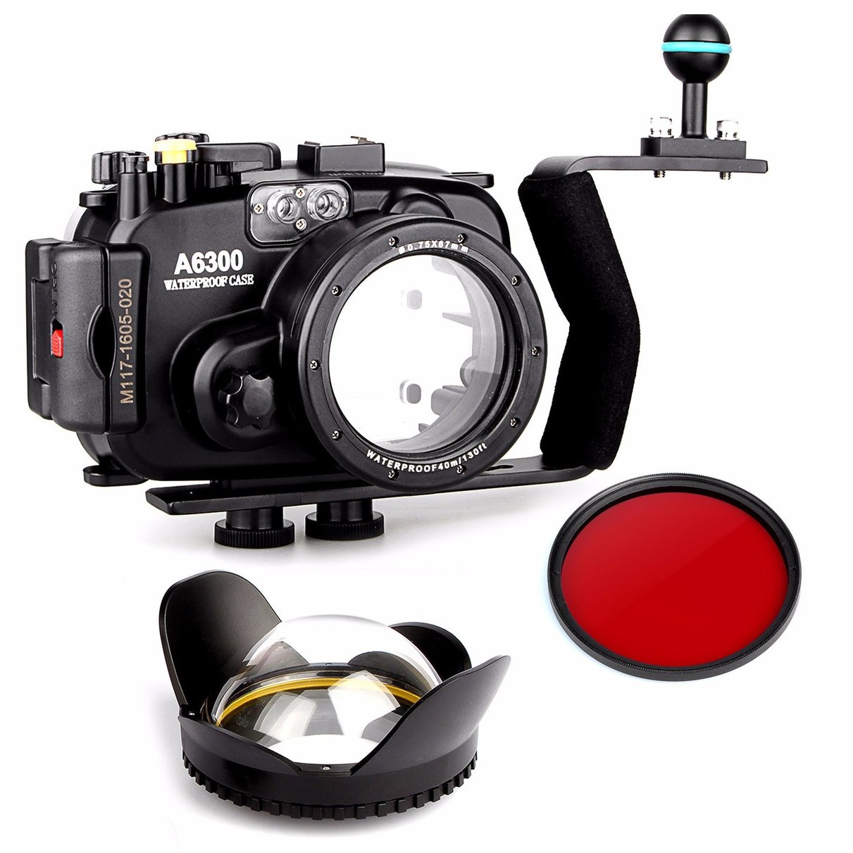 EACHSHOT 40m/130ft Waterproof Underwater Camera Housing Case for A6300 + Aluminium handle + 67mm Fisheye Lens + 67mm Red Filte camera 67mm 0 7x fisheye wide angle lens dome port 67mm round for underwater waterproof diving housing case bag
