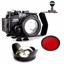 EACHSHOT 40m/130ft Waterproof Underwater Camera Housing Case for A6300 + Aluminium handle + 67mm Fisheye Lens + 67mm Red Filte цена 2017