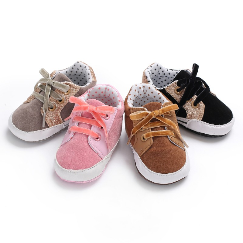 New Toddler Infant Baby Boy Girl Shoes Laces Casual Sneaker PU Patchwork Soft Sole Crib Shoes M1