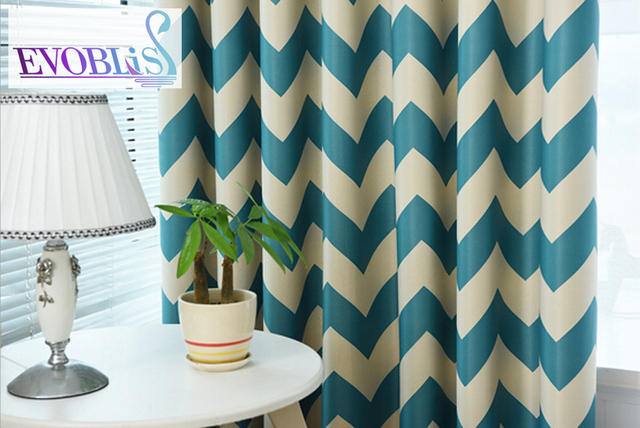 Mediterranean blue striped curtain fabric for living room for ...