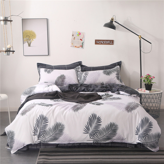Home Textile King Queen Twin Bed Linen Girl Kid Teen Bedding Set White  Black Leaf Duvet Quilt Cover Pillowcase Flat Bed Sheet