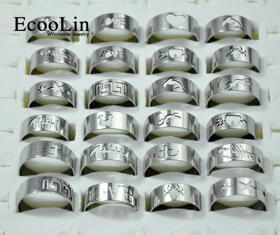50Pcs Hot Sale Wholesale Mixed Lots Fashion Openwork Pattern Stainless Steel Rings For Men and Women Jewelry Bulks Packs LB117 ...