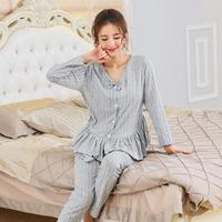 Autumn And Winter Couple Pajamas Women S Long Sleeved Cotton Striped Cardigan Cute Bow Lotus Leaf