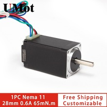 Free shipping 28mm stepper motor nema 11 0.6A 65m.Nm nema11 hybrid step motor low noise customizable for medical,security camera zj730400 camera motor motor n2n 6y23