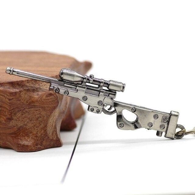 3D Simulation Gun Pendant Keychain Cool Men Metal Weapon Model AK47 M16 M4A1 AWM Revolver Guns Key Ring For Car Holder Chaveiro 4