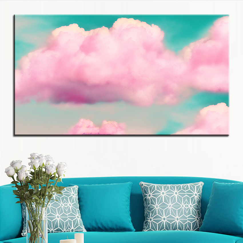Large size Printing Oil Painting clouds 3d effect Wall painting ...