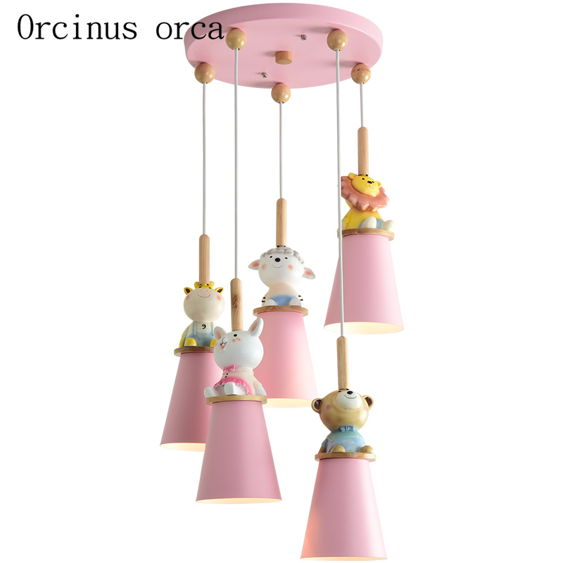 Cartoon Creative Pink Animal Chandelier Children Room Girl Bedroom Princess Bedroom Modern Doll Pendant Lamp Free Shipping