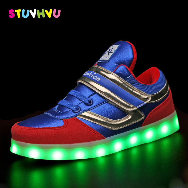 Kids led luminous shoes boys brand fashion sport shoes girls usb rechargeable colorful lights children leather casual sneakers children usb charger luminous shoes lace boys girls led light sneakers fashion kids night show casual shoes brand