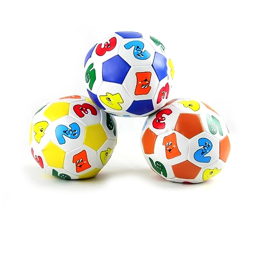 Baby Child Kid Early Education Football Soccer Rubber Ball Mini Stress Ball Toys Alphabet Number Learning Ringing Random Color