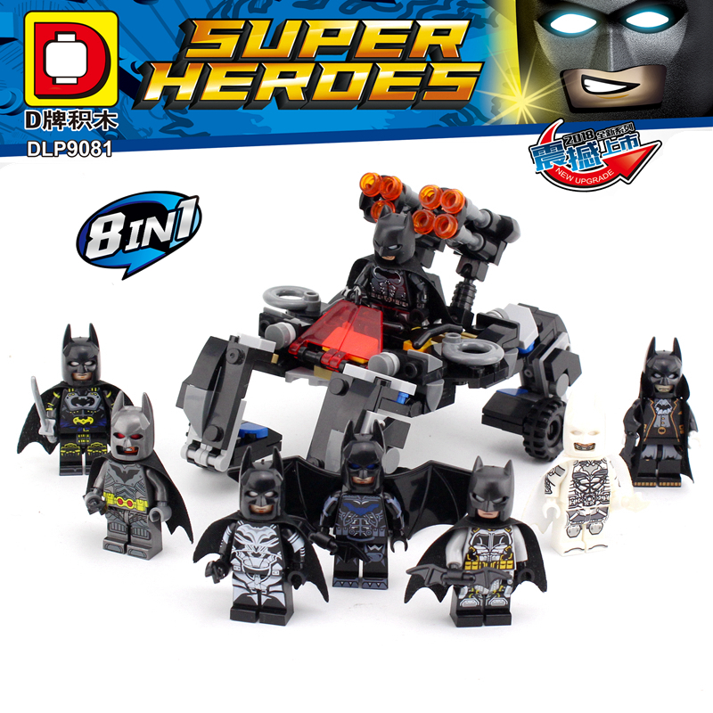 Wholesale New Legoing Super Heroes 8 in 1 BATMAN Minifigure Bricks Building Blocks bat-man Mini Figures Toys For Boys Gift building blocks star sapphire gold batman indigo tribe batman super heroes star wars bricks kids diy toys hobbies pg8076 figures