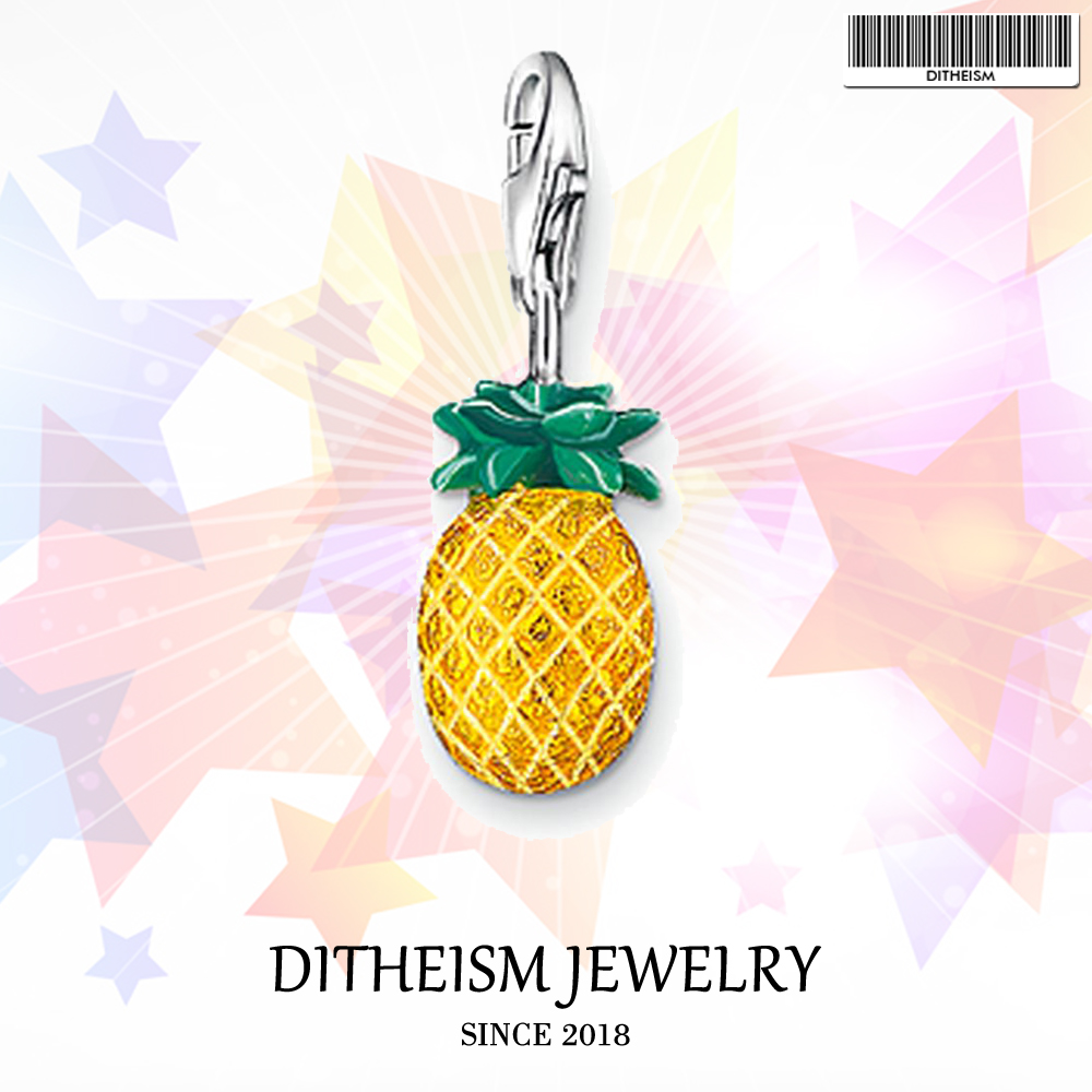 Pineapple Charms Pendant,2018 Fashion Jewelry 925 Sterling Silver Ethnic Gift For Women Girls Fit Bracelet Necklace Bag
