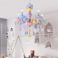 Kolorowy kryształowy żyrandol Macaron kolor Droplight dzieci lampka do sypialni kreatywny Fantasy oprawa witraż luster