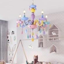 Lámpara de araña de cristal de colores de macarrón para dormitorio de niños, luminaria de fantasía creativa, Lustre de cristal manchado