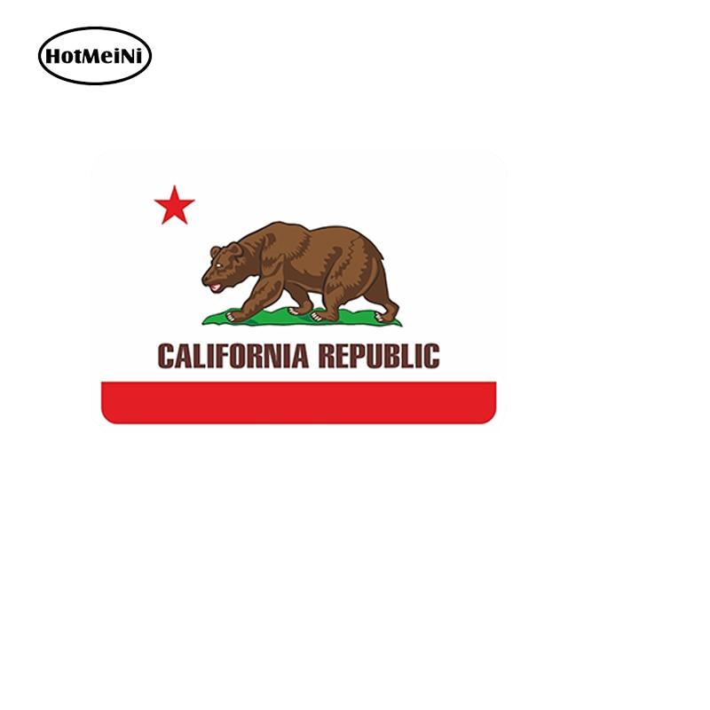HotMeiNi Car Styling Waterproof Sticker For Bumper Tool Box Door Helmet Laptop Car Truck Bear California Flag 13cm x8.8cm