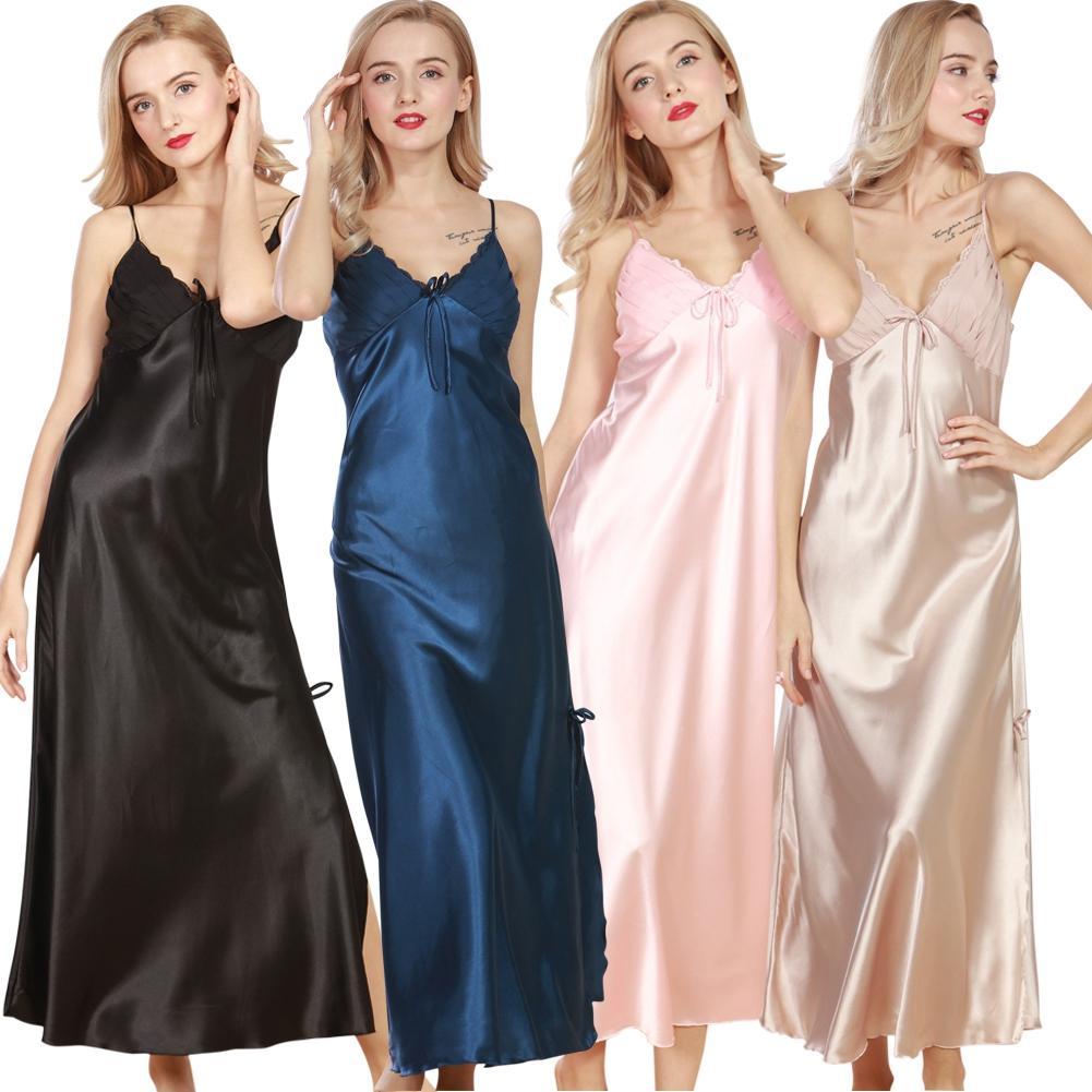 Long Women Summer Night Dress Plus Size Sexy Lace -8511