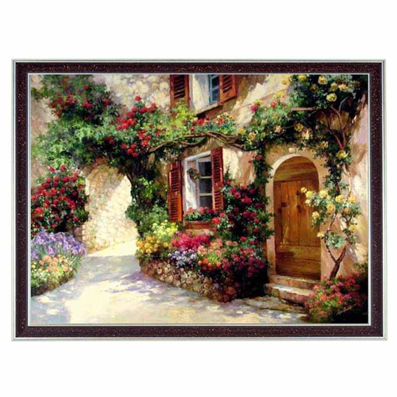 New Needlework, DIY DMC 14CT Unprinted Cross Stitch Kit,Scenic Houses Patterns Embroidery Painting Cross-stitch Home Decor