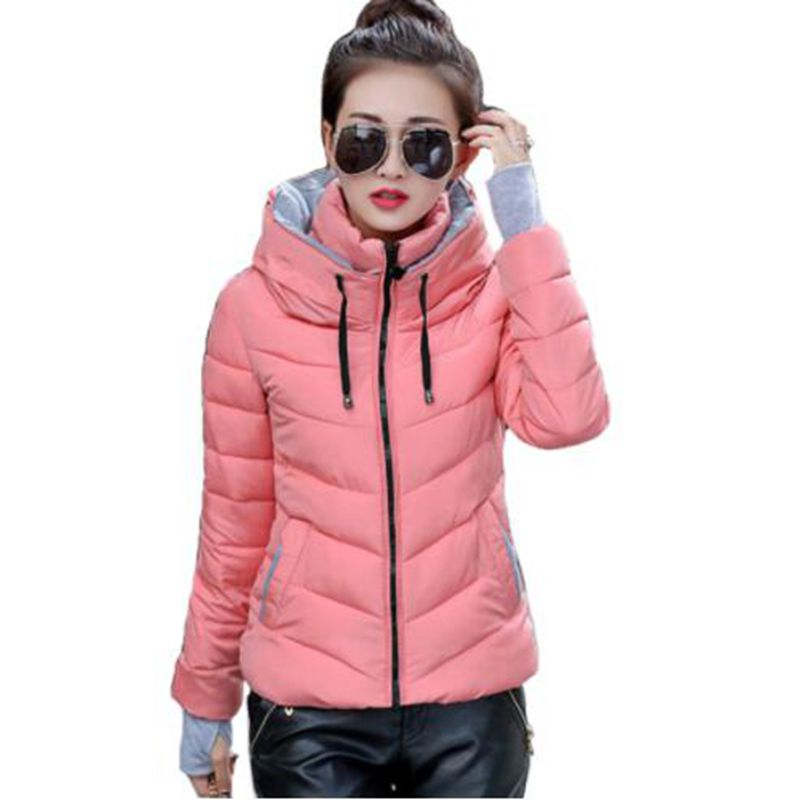 Spring Autumn women winter jacket short cotton padded womens coat autumn casaco feminino inverno solid color   parka   stand collar