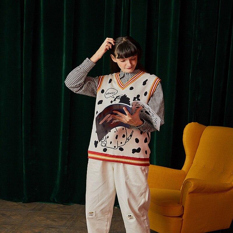 Sans Gilet Vintage Beige Manches Tops Pull Femmes Automne cou Mode Géométrique Chandail Nouvelle Jacquard V Hiver 2019 Tricot exodBC