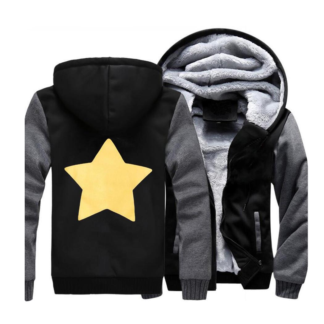 STEVEN UNIVERSE STAR Hoodies Streetwear Raglan Sweatshirt Men Winter Fleece Thick Hooded Sportswear Coat Hoodie Print Jackets