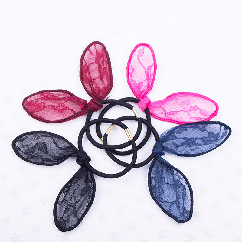 Hot Sale Cute Lovely Lace Children Rabbit Ear Elastic Hair Ring Rubber Rope Hairband Hairpin Hair Accessories Gift