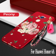 For Huawei honor 6a Case silicon 3D Flower funda protector mobile phon